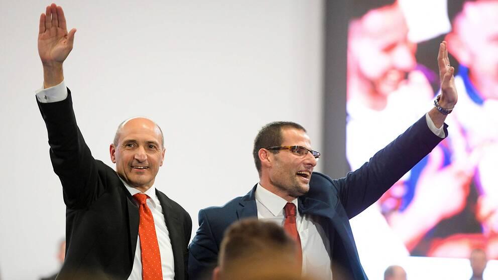 De två huvudkandidaterna i Labour-valet Robert Abela (till höger) över motkandidaten Chris Fearne
