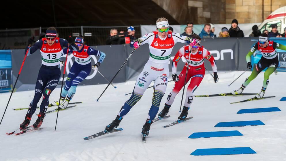 Maja Dahlqvist ska tillsammans med Linn Svahn försöka vinna ännu en gång i sprintstaffeten.