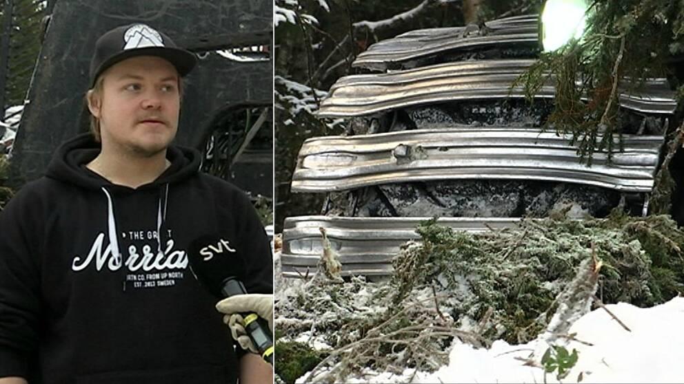 Bild på ung kille i keps framför en skogsmaskin, tät bild på brett däck med larver