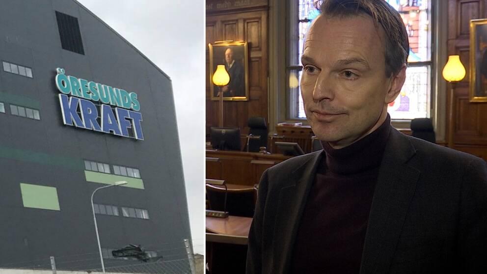 Delad bild på Öresundskrafts logga och Helsingborgs kommunalråd Peter Danielsson