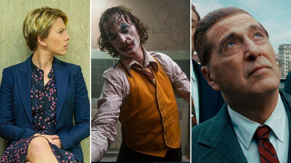 Tre bilder på Scarlett Johansson, Joaquin Phoenix och Al Pacino i sina roller.