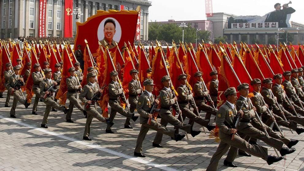 Militärparad i Nordkorea.