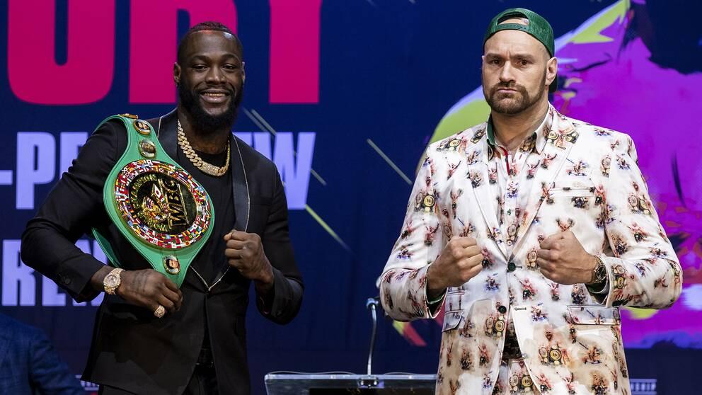 Tungviktsstjärnorna Deontay Wilder och Tyson Fury på nattens presskonferens i Los Angeles.