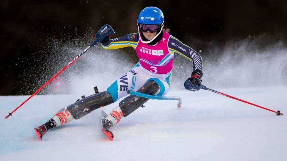 Emma Sahlin under ett lopp i ungdoms-OS.
