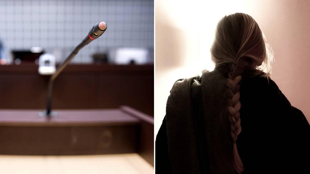 En mikrofon till vänster och en anonym tjej till höger.