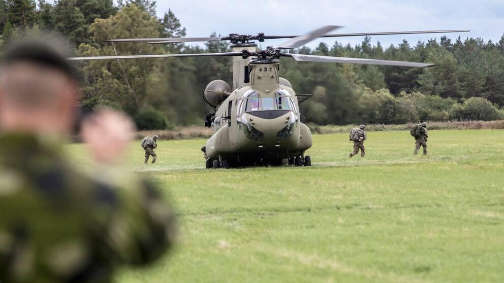En CH-47 Chinook, en Amerikansk transporthelikopter landar med soldater på en åker i Hangvar på norra Gotland under försvarsmaktsövningen Aurora 17 i september 2017.