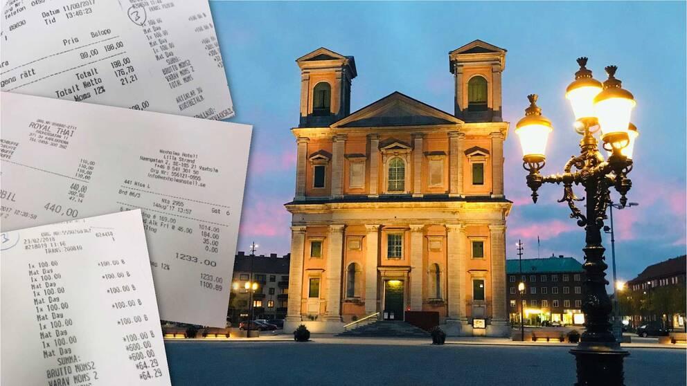 Tre kvitton på olika matbeställningar ligger på en bild med Fredrikskyrkan i kvällsljus.