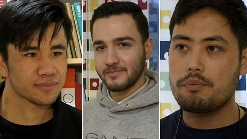 Tre porträtt på Shabaz Karim, Mustafa Gholami och Mohammad Hussain.