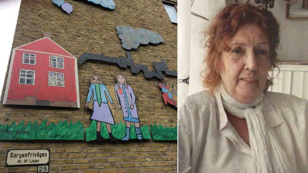 bild på fasad, bild på Mary Andersson