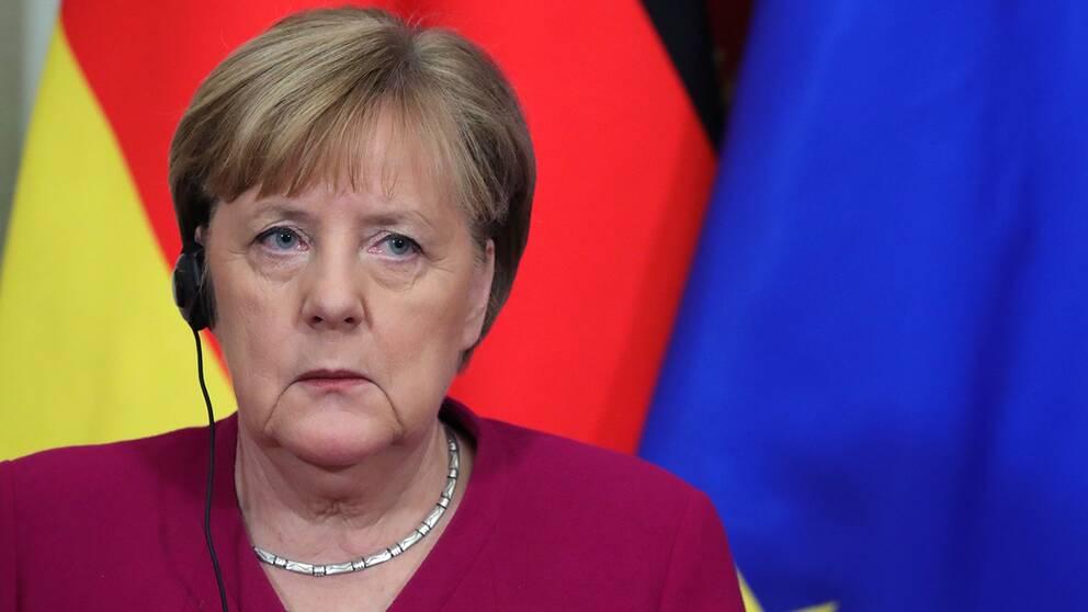 Tysklands förbundskansler Angela Merkel håller en fredskonferens för att få till en vapenvila i Libyen. Arkivbild.