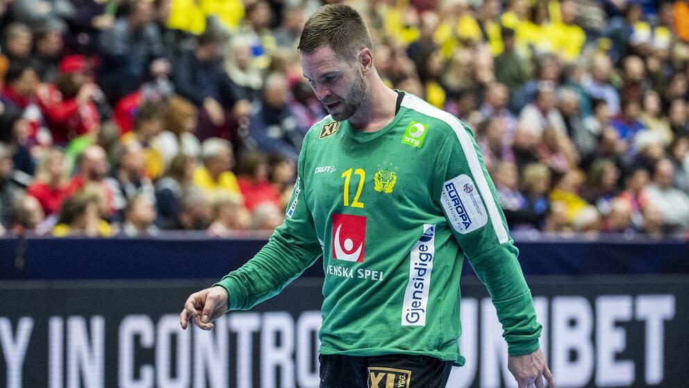 Sveriges målvakten Andreas Palicka deppar.
