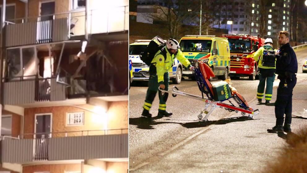 Minst en person har skadats i samband med de två explosionerna i Husby och i Kista under natten mot tisdagen.