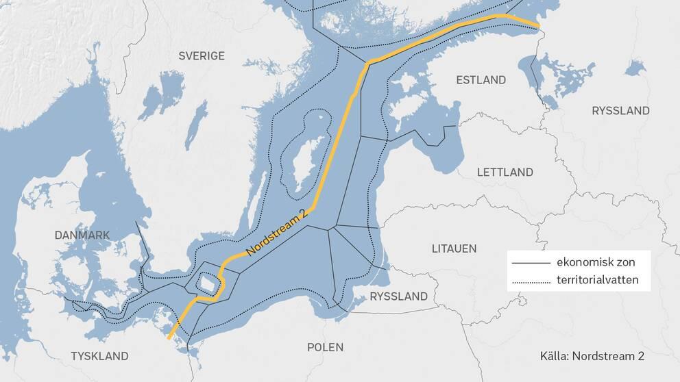 Gasledningen Nord Stream 2 ska bli cirka 2 460 kilometer lång. Den är nedlagd i svensk ekonomisk zon i Östersjön och ska leverera naturgas från Ryssland