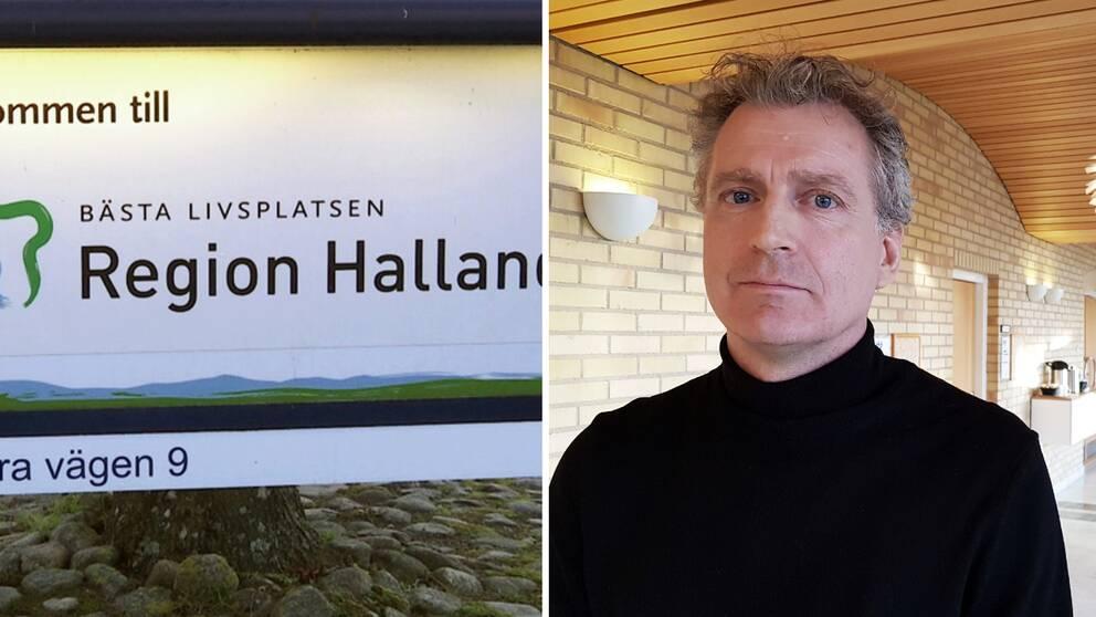 Ola Johansson, biträdande hälso- och sjukvårdsdirektör, och en skylt där det står Region Halland, bästa livsplatsen.