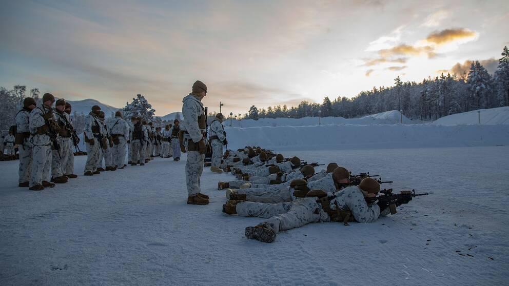 Amerikanska marinkårssoldater i Setermoen i Norge 4 november 2019.