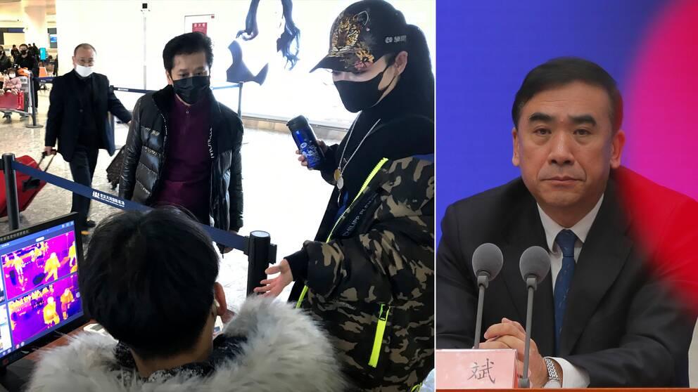 Flygresenärer på väg från Wyhan screenas innan de får stiga ombord på flygplan. Till höger Li Bin, vice ordförande för kinesiska hälsovårdsmyndigheten, som nu varnar för att viruset håller på att mutera.