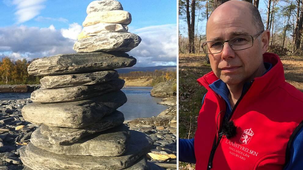 Reservatsförvaltaren Mikael Stenström på Länsstyrelsen i Halland har tröttnat på att folk bygger stentorn av klappersten i naturreservaten.