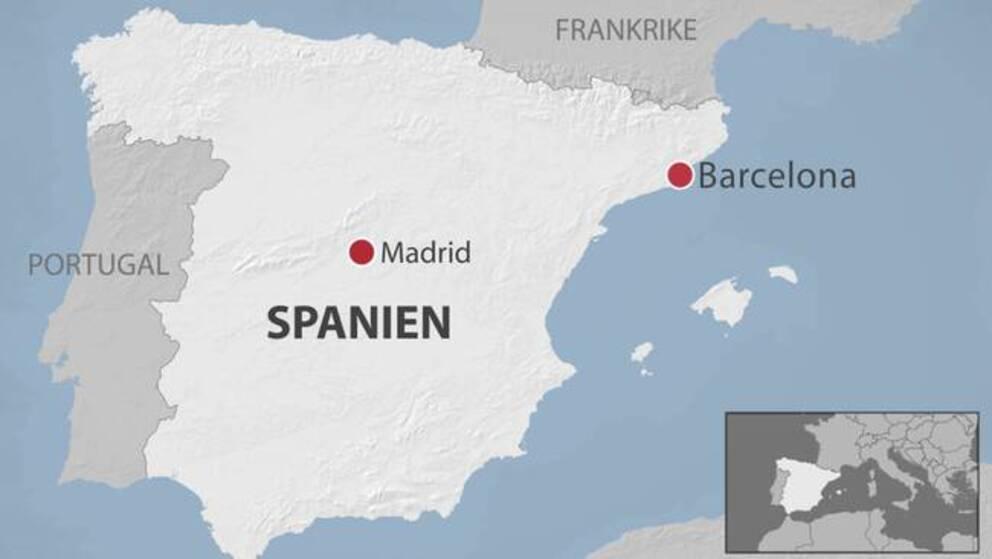 En karta över Spanien med Barcelona utplacerat.