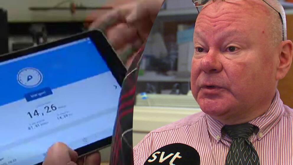 På bild är Per Olov Olsén, som driver företaget Wermlands Elektronik i Torsby. Han har väntat flera år på att få fiber inkopplat.