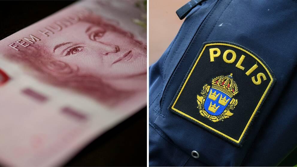 En 500-kronorssedel och polismärke.