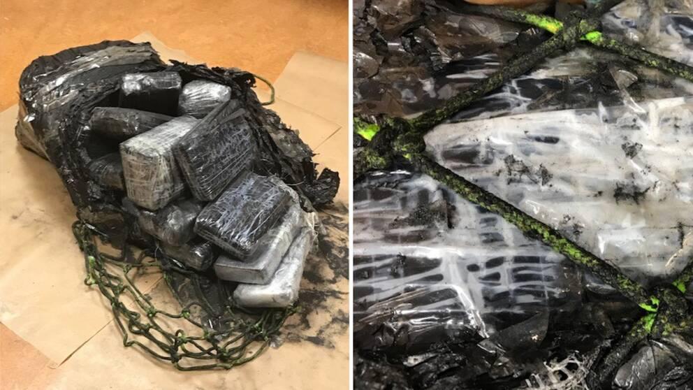 Nedsvärtade förpackningar av kokain i en nätpåse