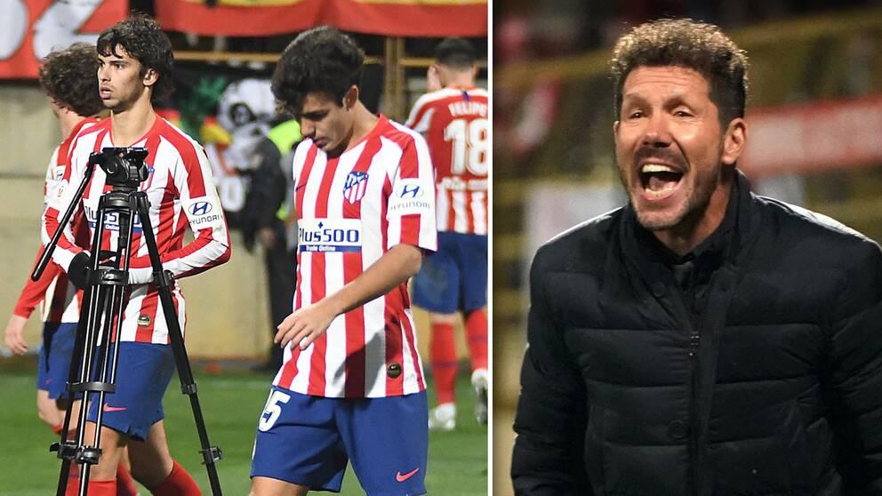 Spelarna i Atlético Madrid deppar och tränaren Diego Simeone var inte nöjd.