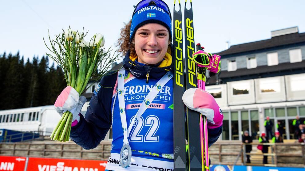 Hanna Öberg efter andraplatsen i slovenska Pokljuka.