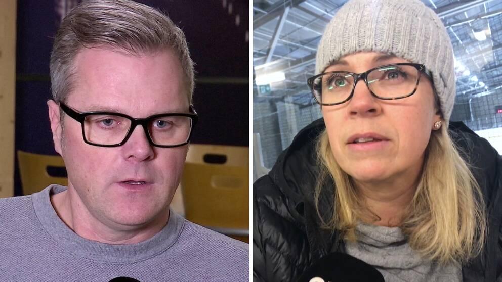 Bild på två föräldrar med glasögon, svarta bågar, en man och en kvinna.
