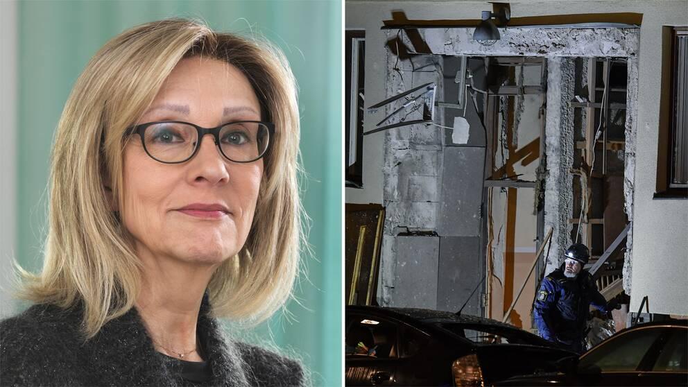 Marianne Kristiansson, professor i rättspsykiatri vid Karolinska institutet, och en bild från sprängningen på Östermalm.