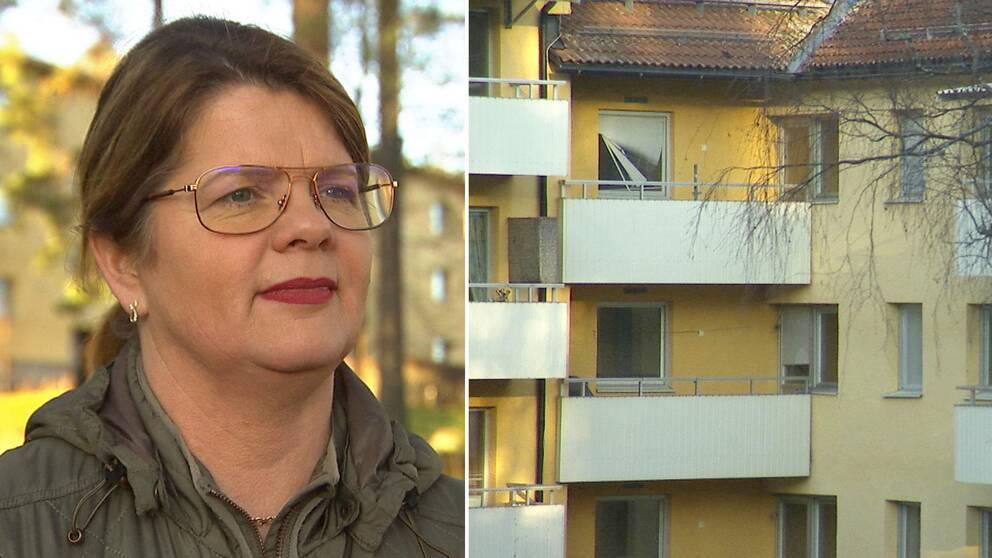 Två bilder. Filipstads kommunalråd Åsa Hååkman Felth och ett hus med tomma lägenheter.