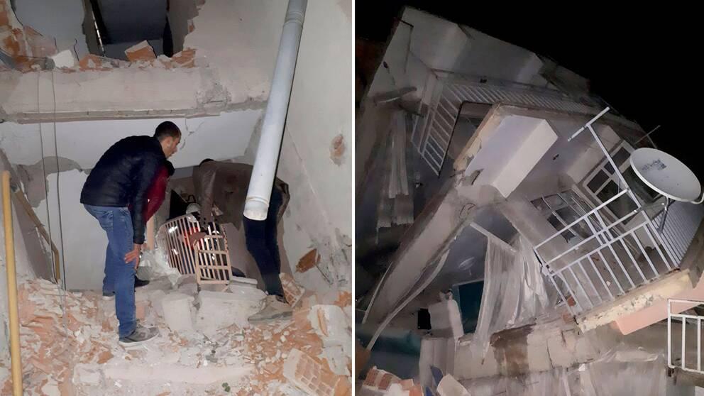 Byggnader i provinsen Elazig i östra Turkiet kollapsade i samband med jordbävningen
