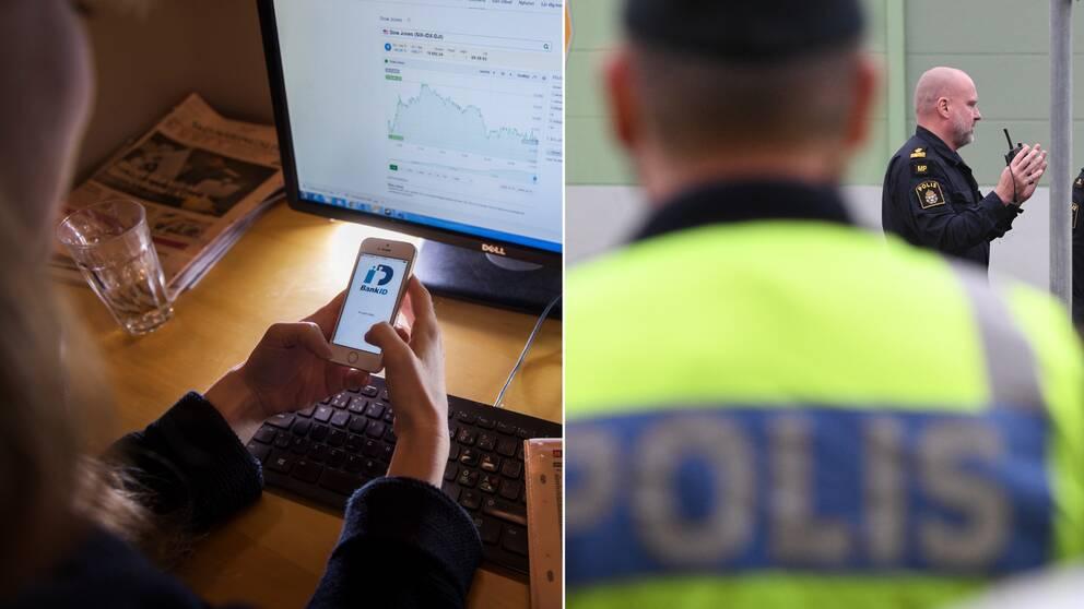 Person sitter med en mobil i handen, polisen under en insats utomhus.