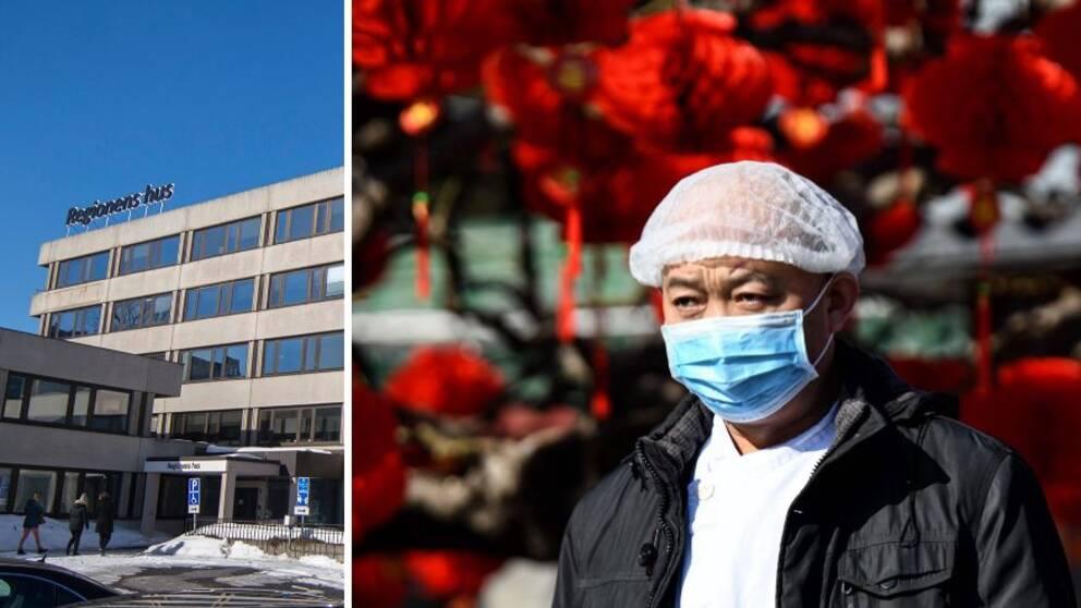 Delad bild på Regionens hus och en man med munskydd.