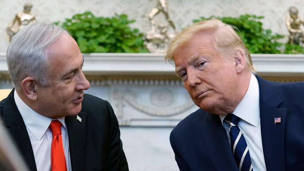Israels premiärminister Benjamin Netanyahu och USA:s president Donald Trump möttes i Washington på måndagen.