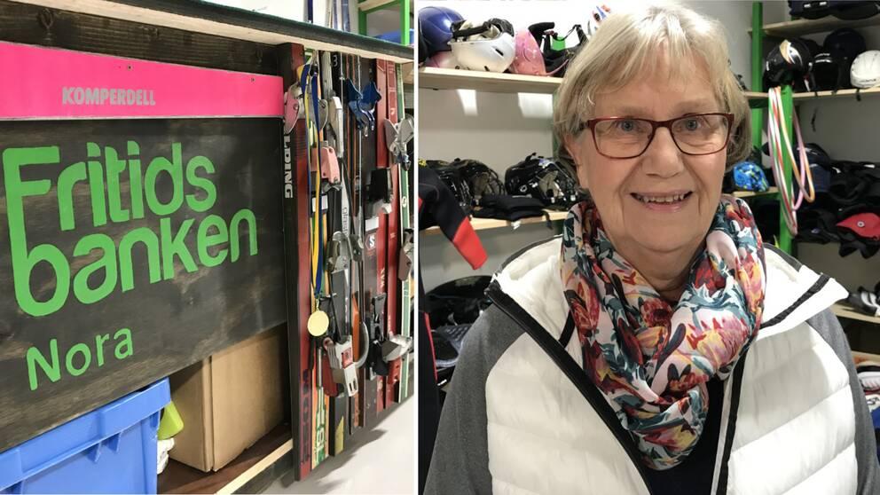 """En bänk med texten """"Fritidsbanken i Nora"""". Till höger i bild syns en kvinna med glasögon."""