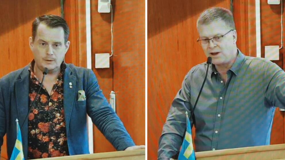 Kommunstyrelsens ordförande Michael Karlsson (S) och oppositionspolitikern Thomas Lindström (TL) i talarstolen.
