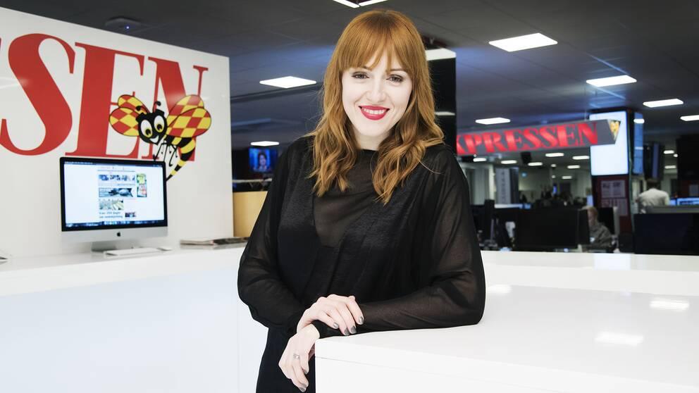 Cissi Wallin på Expressens redaktionsgolv
