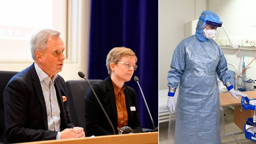 Mats Bojestig, hälso- och sjukvårdsdirektör och Malin Bengnér, smittskyddsläkare under fredagens pressträff. Samt anställd på Karolinska iförd skyddskläder.
