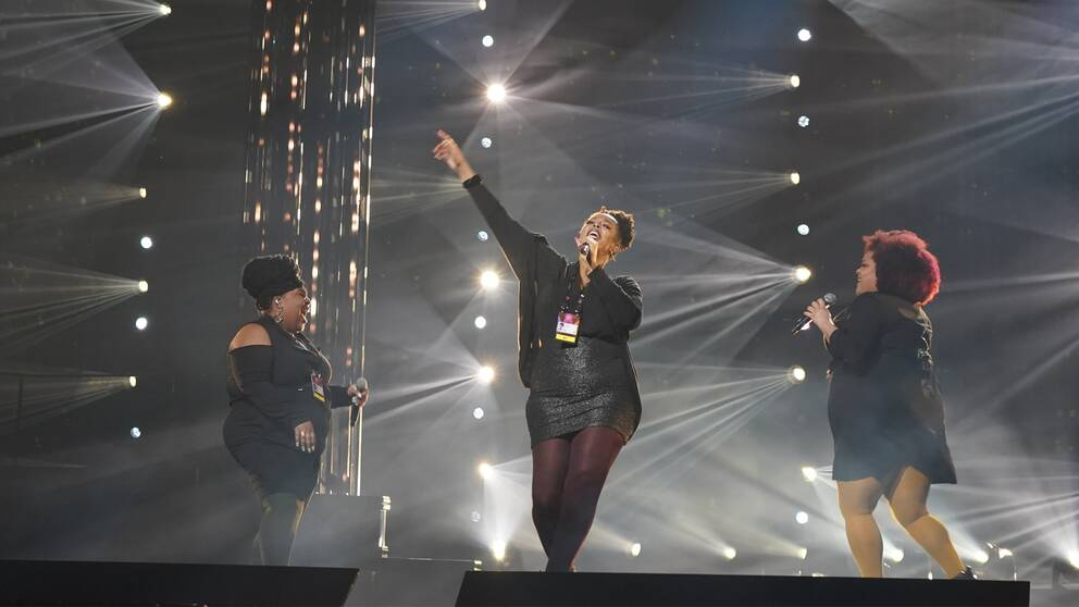 The Mamas under torsdagens repetitioner i Saab Arena i Linköping.