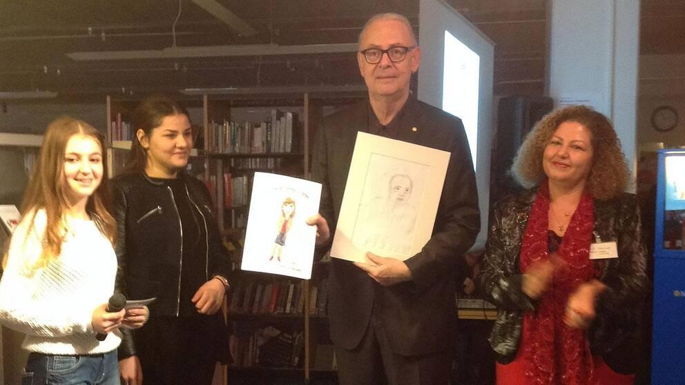 """Eleverna har läst och illustrerat Modianos """"Dora Bruder""""."""