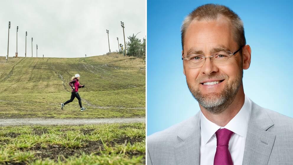 Bild på ett snöfritt Hammarbybacken i södra Stockholm där en kvinna joggar samt bild på SVT:S meteorolog Per Stenborg.