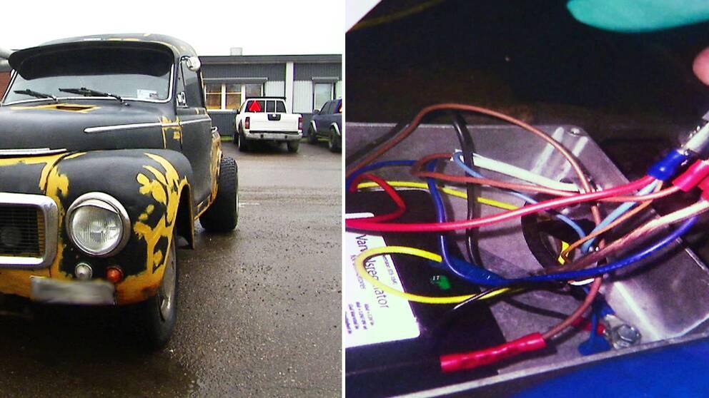 Montage. A-traktor på parkering. Bild på sladdar kopplade till en svart dosa.