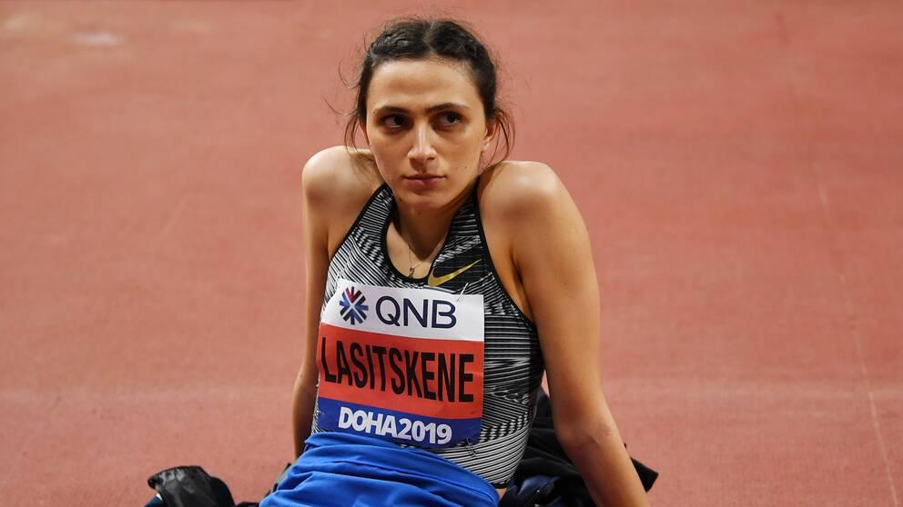 Marija Lasitskene tävlade under neutral flagg i VM i Doha.