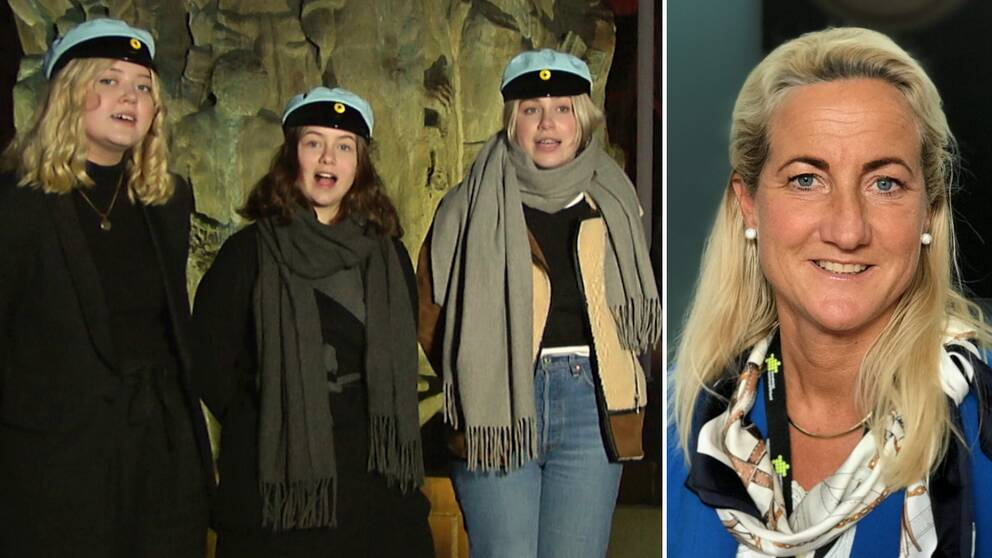 Tre ur kören Octo Puellae och riksdagsledamoten Cecilia Widegren (M).