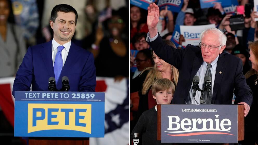 Pete Buttigieg och Bernie Sanders ser ut att få flest delegater vid nomineringsmötena i Iowa