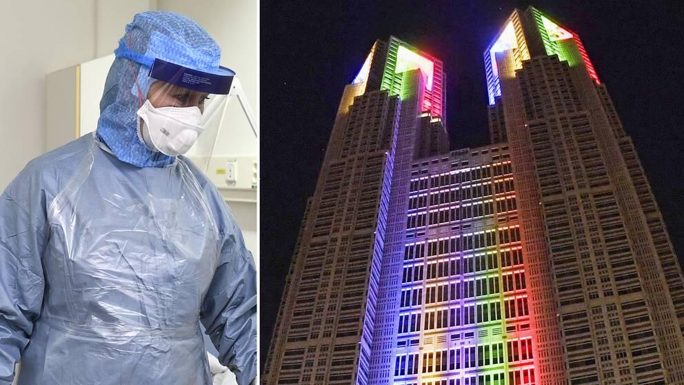 Tokyo Metropolitan Government Building klädd i olympiska färger.