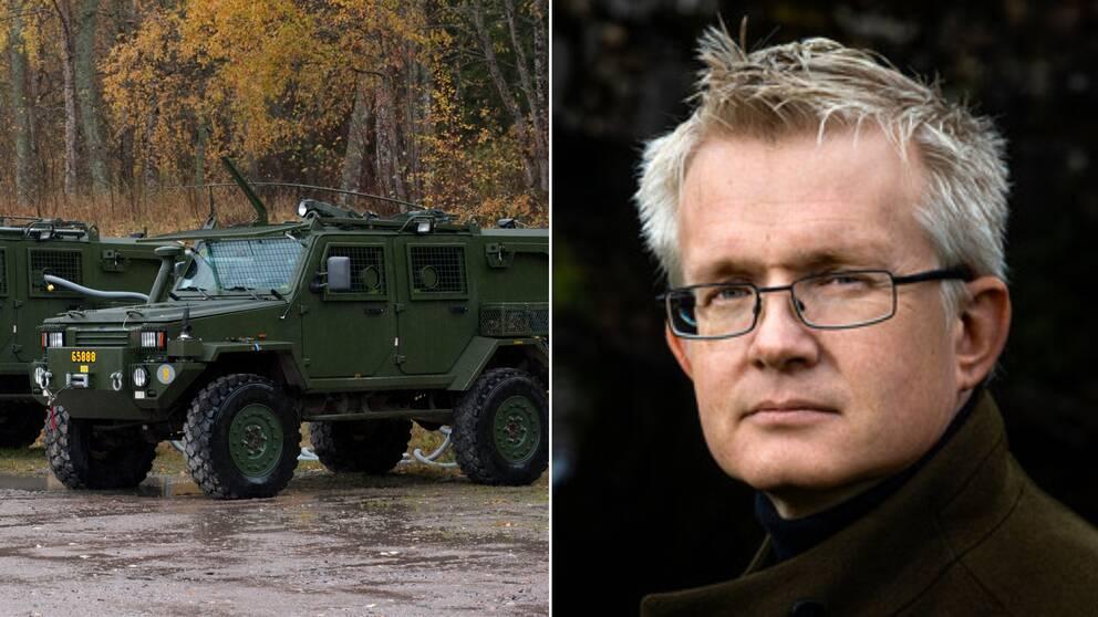 Försvarsexpert Lars Wilderäng ser många anledningar till stölden av militärfordonen i Enköping. Fordonet på bilden är från ett annat tillfälle