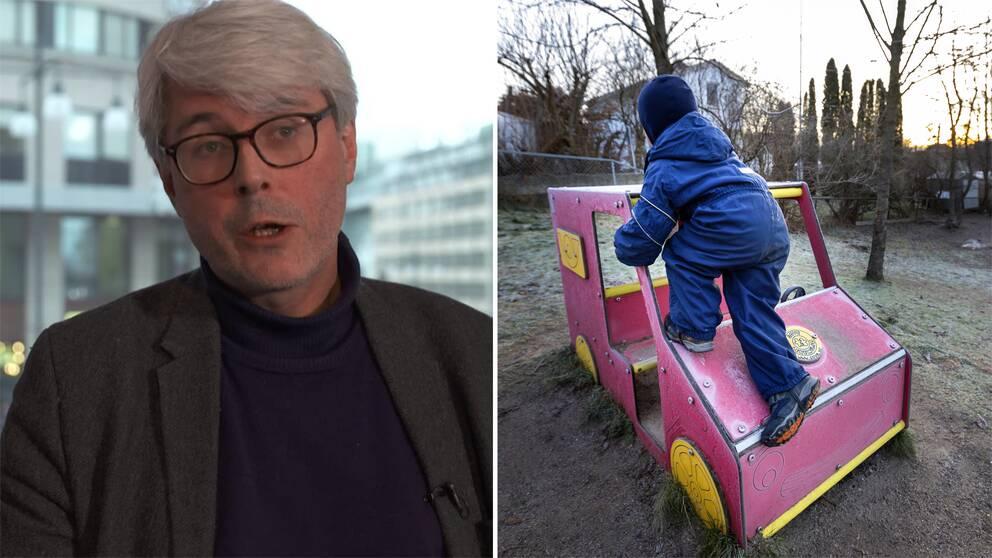 öran Rydén, verksamhetschef på BUP Stockholm, och en bild på ett barn som syns bakifrån.