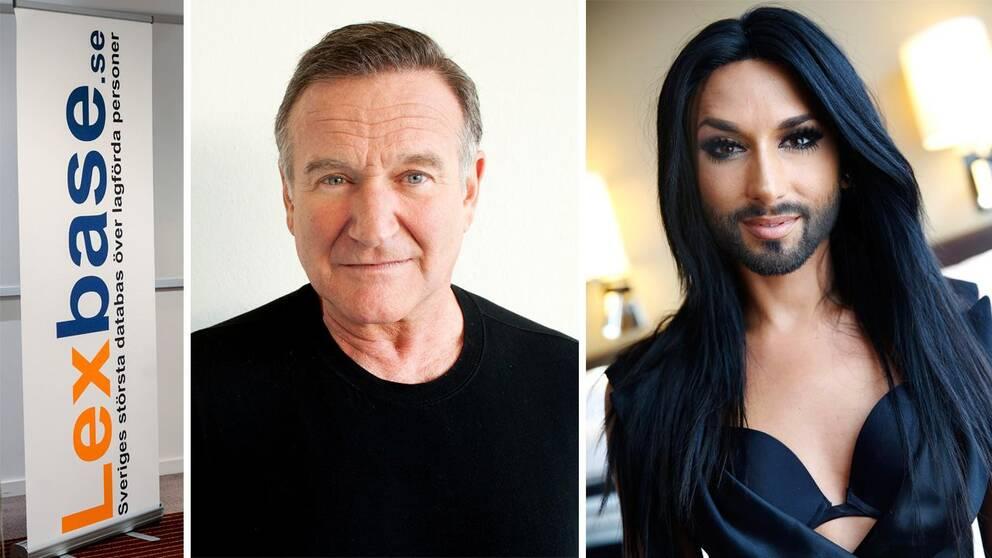 Lexbase, Robin Williams och Conchita Wurst hör till de som svenskarna googlat mest om.