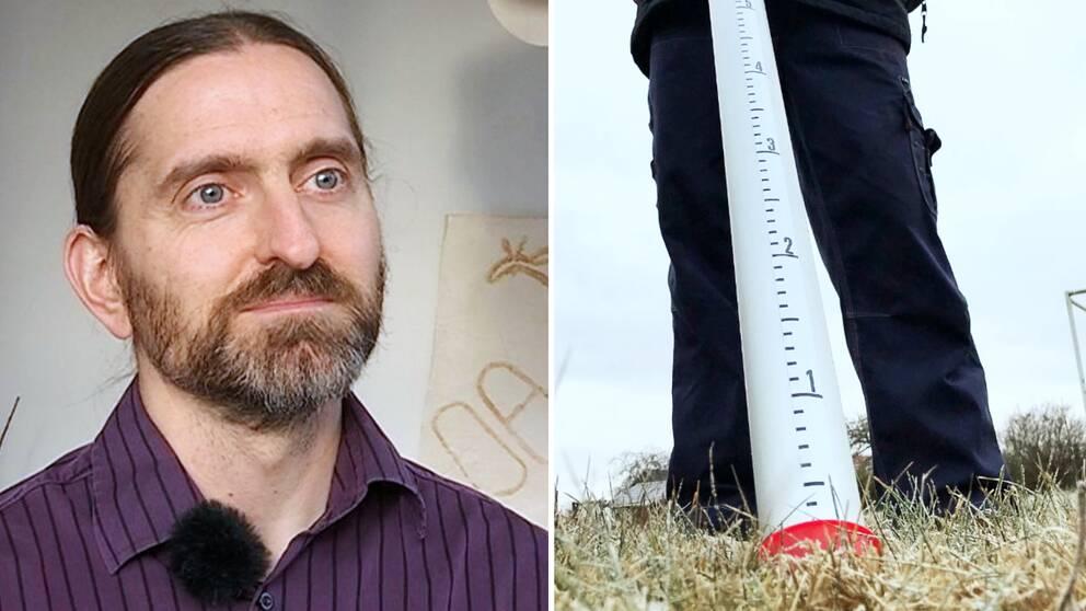 Erik Engström, klimatolog. Mätsticka snödjup.
